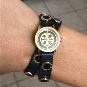 EXTREMELY RARE Tory Burch Navy Reva Wrap Watch